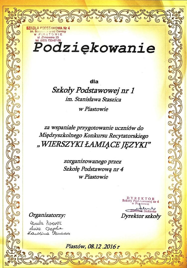 Dyplomy Certyfikaty Szkoła Podstawowa Nr 1 W Piastowie