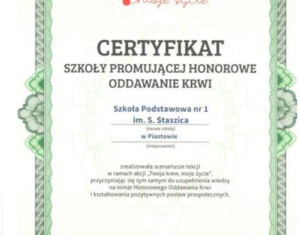 Certyfikat Szkoły Promującej Honorowe Oddawanie Krwi