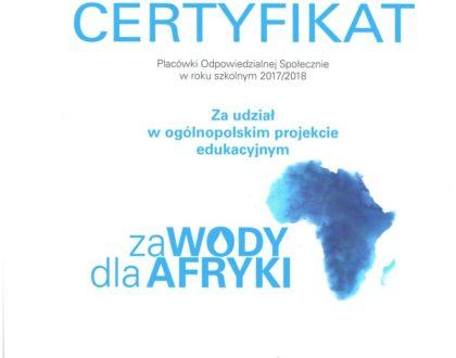 Certyfikat za udział w ogólnopolskim projekcie edukacyjnym