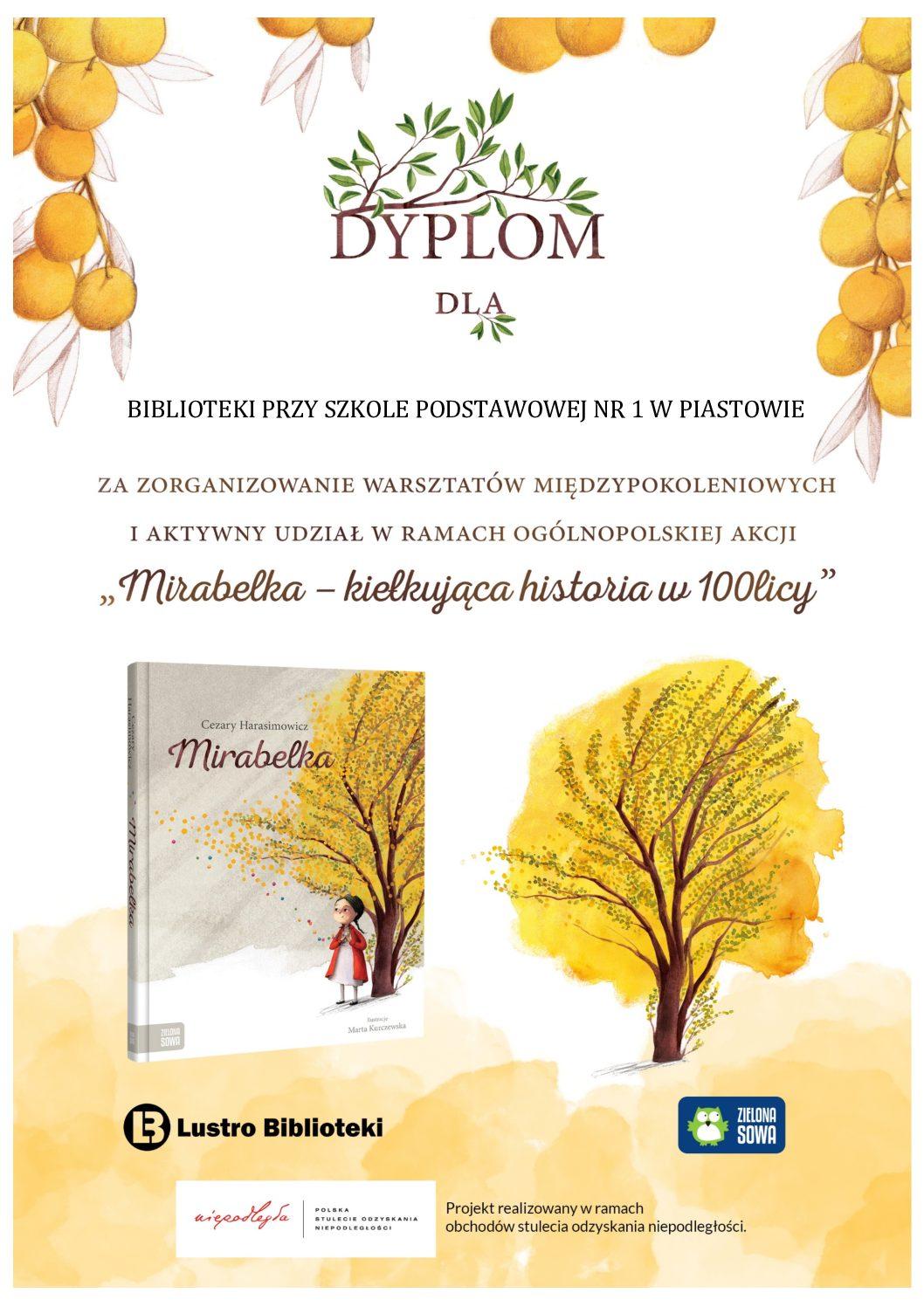 """Dyplom dla Biblioteki za udział w akcji """"Mirabelka"""""""