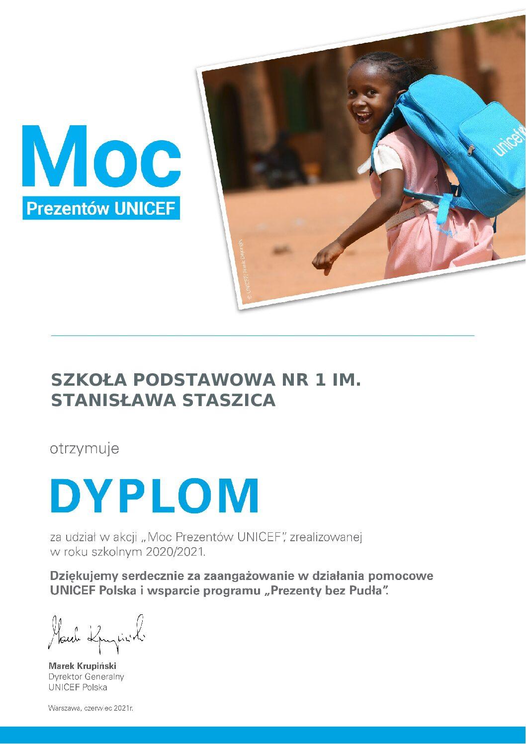 Moc prezentów Unicef - podziękowanie